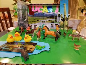 Farm with pond diorama