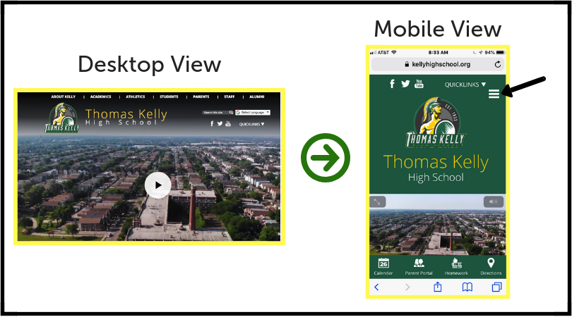 Kelly High School's website showing the desktop view and the mobile view