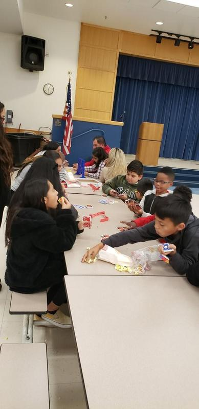 Students participating in a math game
