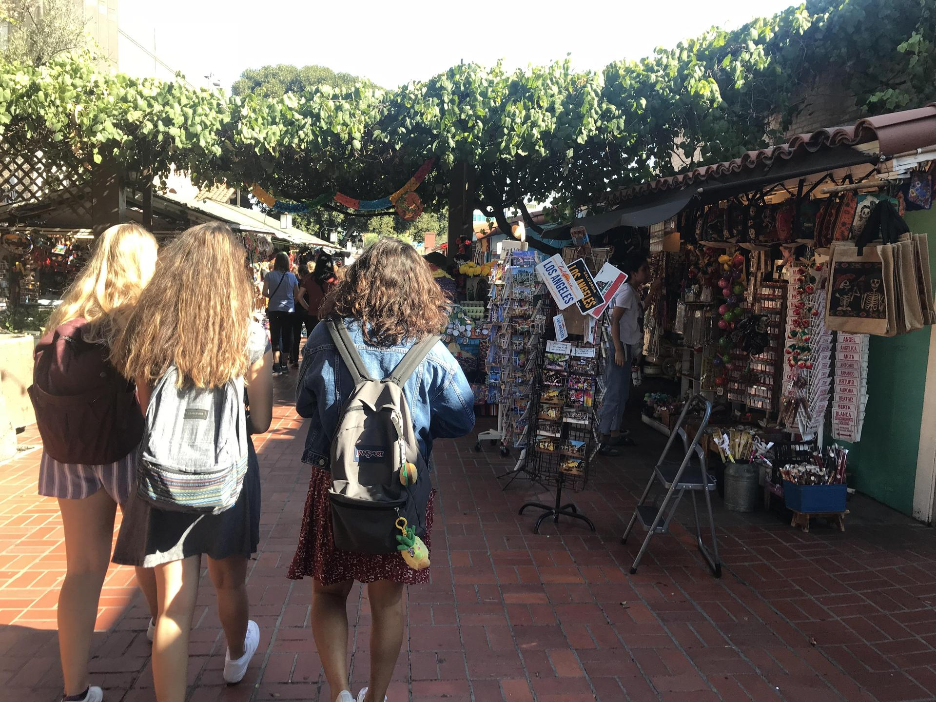 Spanish 3 students on a field trip to Olivera Street in Los Angeles.