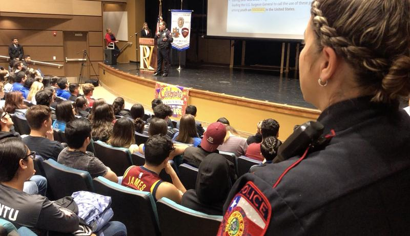 The Edinburg CISD Police Department presents its Dangers of Vaping Awareness campaign to students at Vela High School.