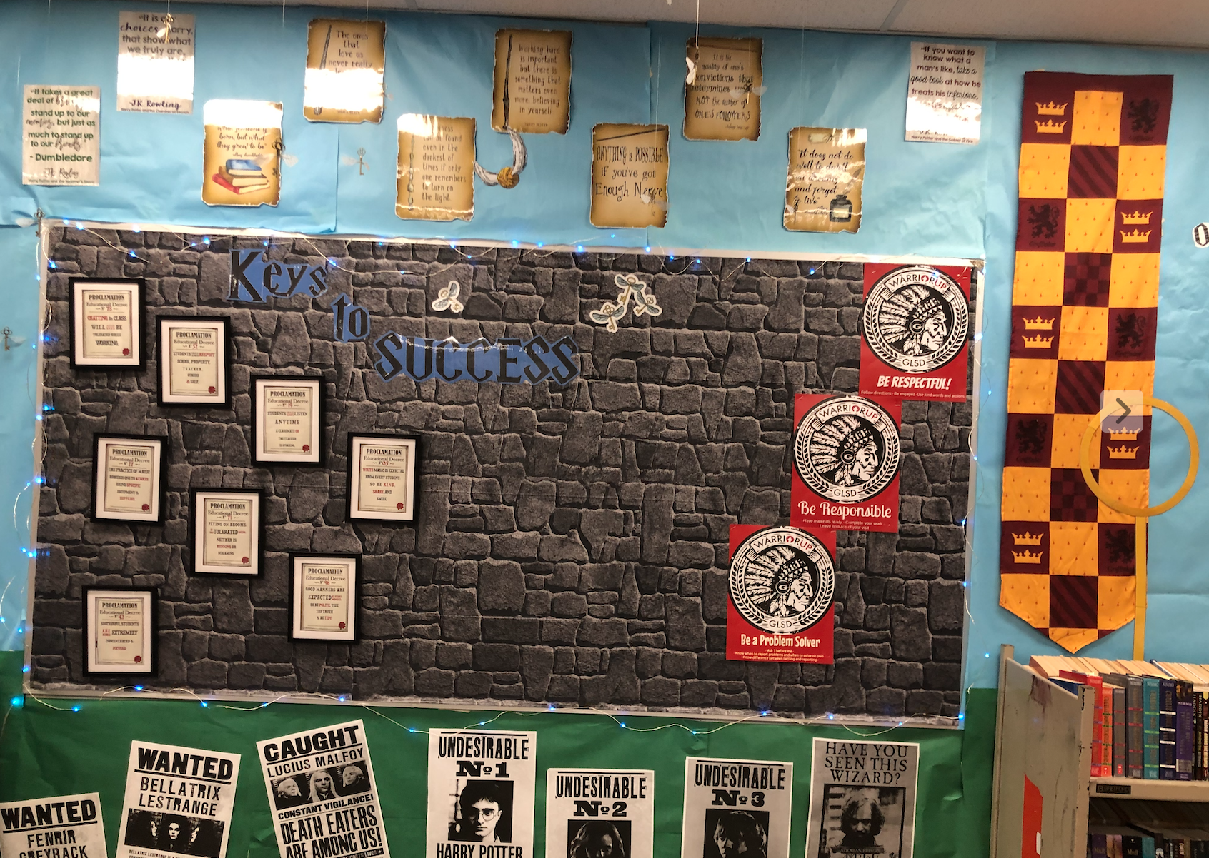 The bulletin board holds the Keys to your Success this year. It holds the Educational Decrees and the rules, as well as the 3 ways to Warrior Up!