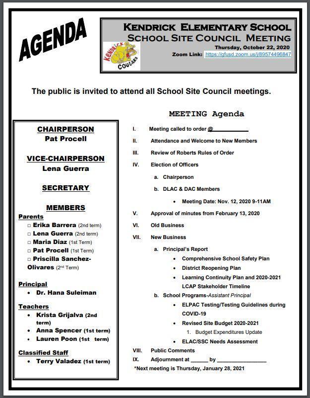 SSCA Agenda