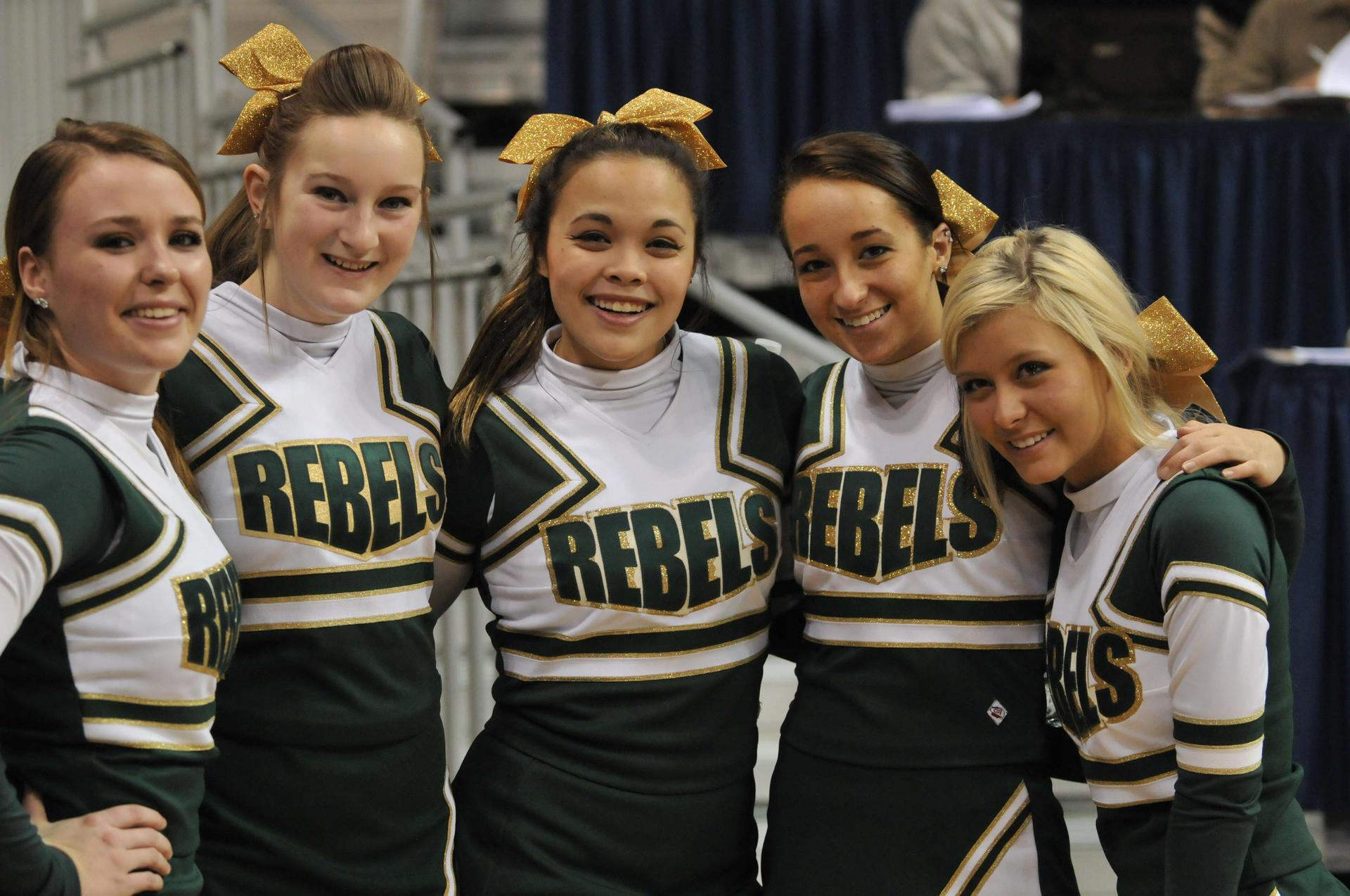Cheerleaders at basketball game