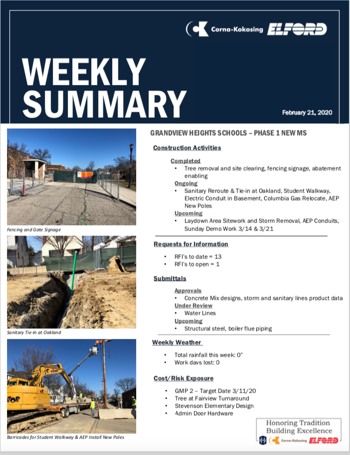 Weekly Construction Update