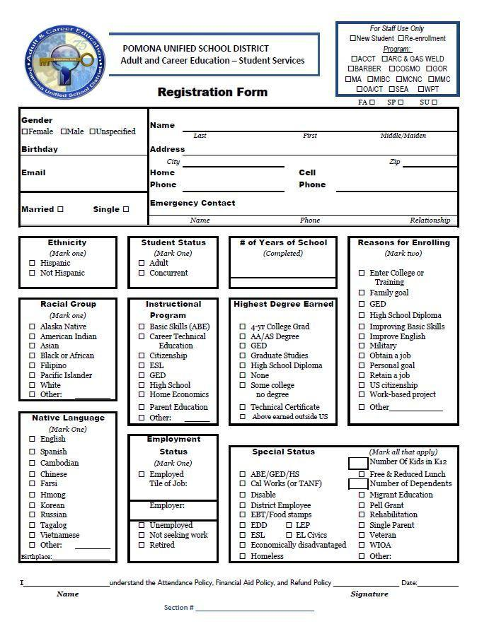 Photo of ACE Registration Form