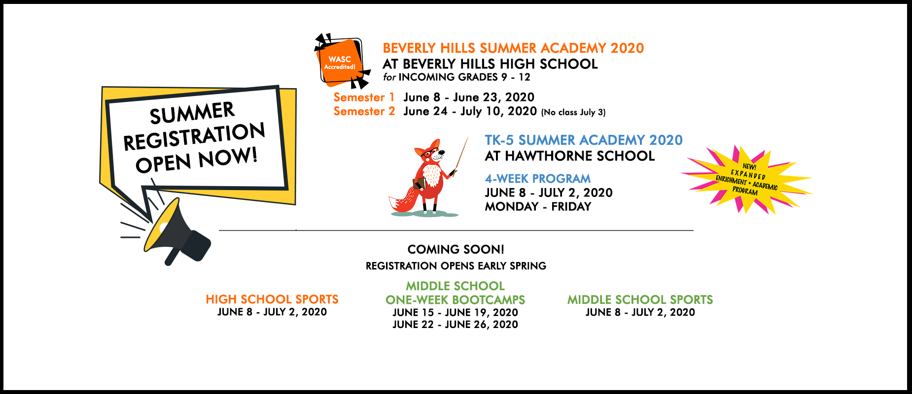 summer registration now open visit summer academy tab to register