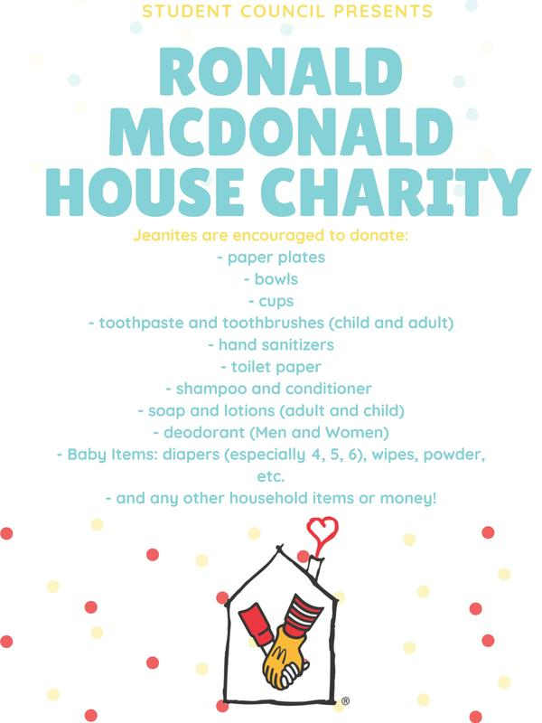 Flyer for donation drive at ronald macdonald house