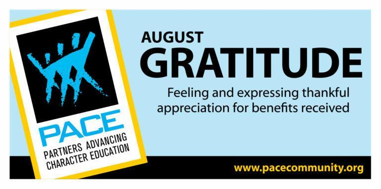 PACE CHARACTER TRAIT FOR AUGUST IS GRATITUDE Thumbnail Image
