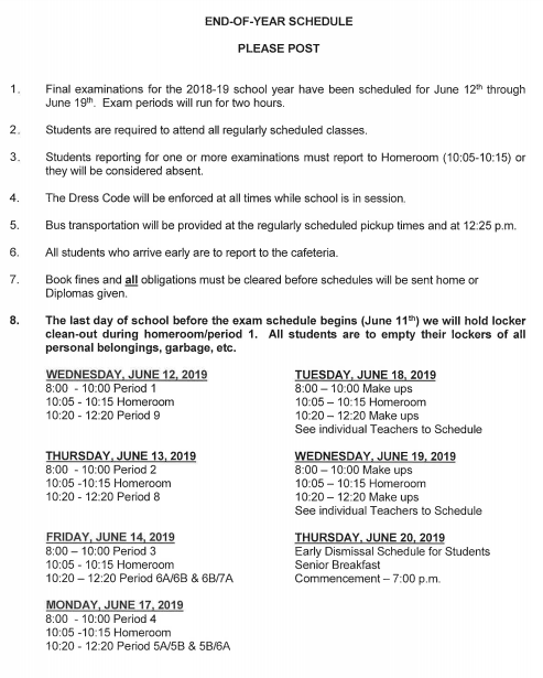End of year schedule