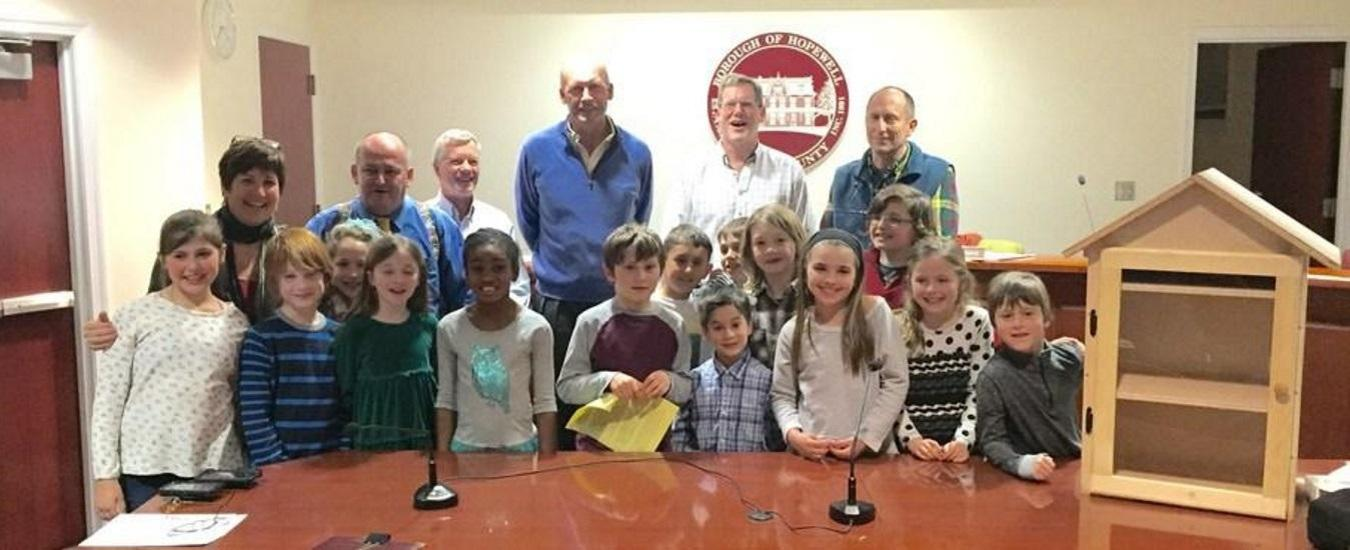 Students present their woodworking project to Hopewell Borough officials