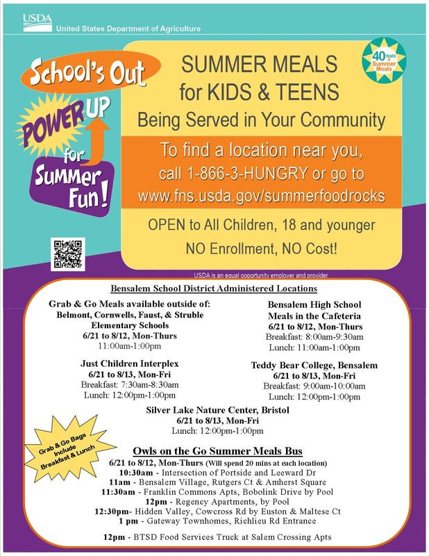 Flyer in aqua, orange and purple listing sites available for Free Summer Meals locations