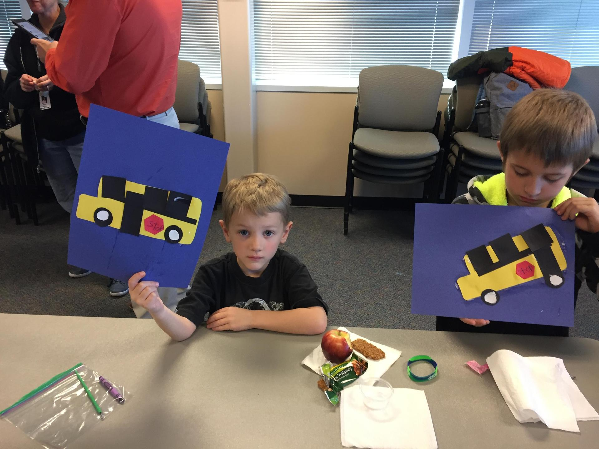 Northlake first grade creates buses after their tour of the district office