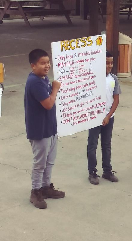 two boys holding a poster listing recess rules