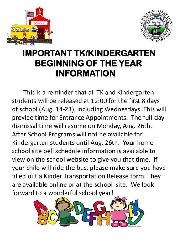 TK Kindergarten Release Info