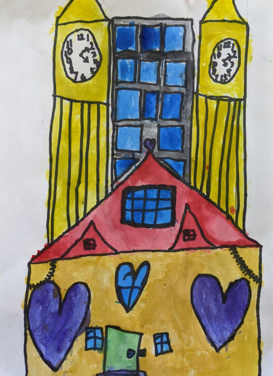 A second grader's skillful drawing of an architecture design