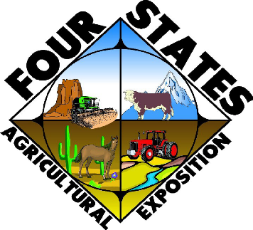 Four States Agricultural Exposition Logo with an image divided into four quadrants utah with red rocks and tractor, colorado with mountain and cow, arizona with horse and saguaro, New Mexico with a red tractor and a river.