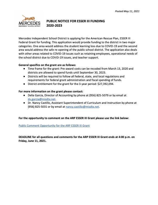 Public Notice for ESSER III Funding / Aviso Público para la financiación de ESSER III Featured Photo