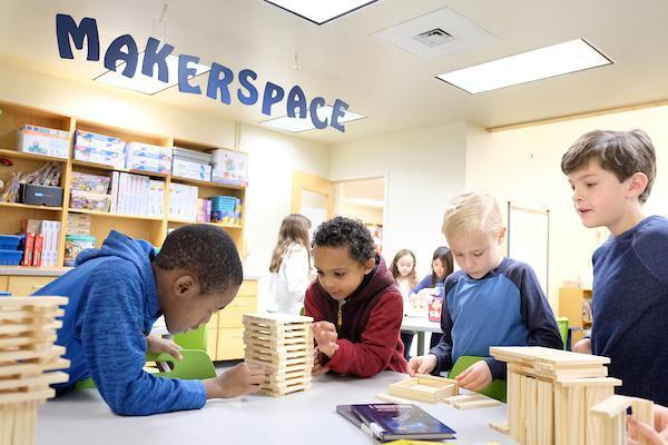 Students working in a makerspace