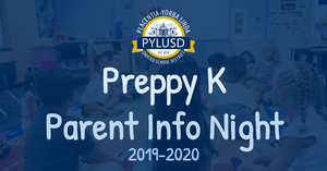 Preppy K Parent Information Night graphic is January 17, 2019.