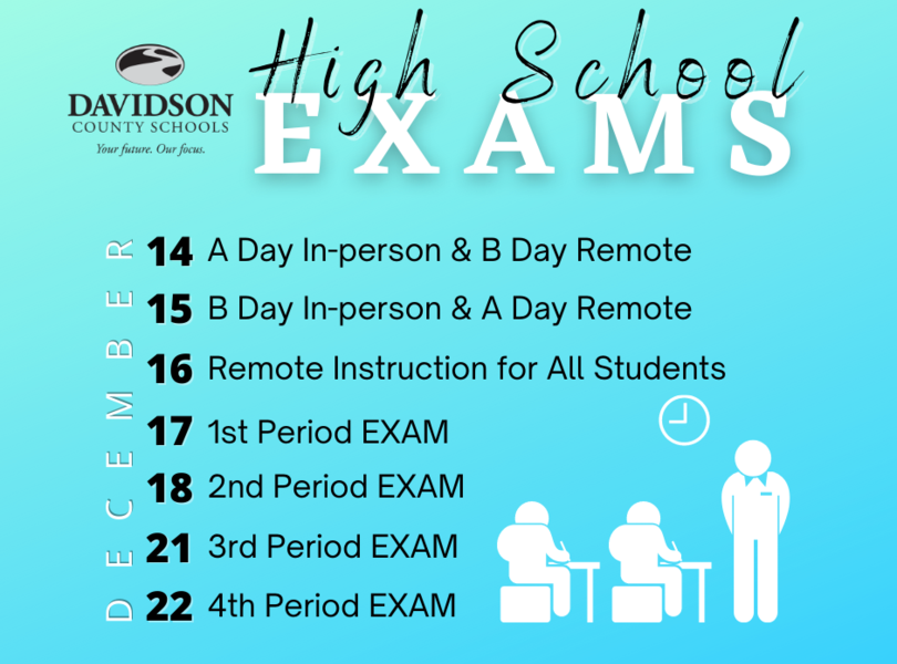 High School Exam Schedule - click on the picture to access more information