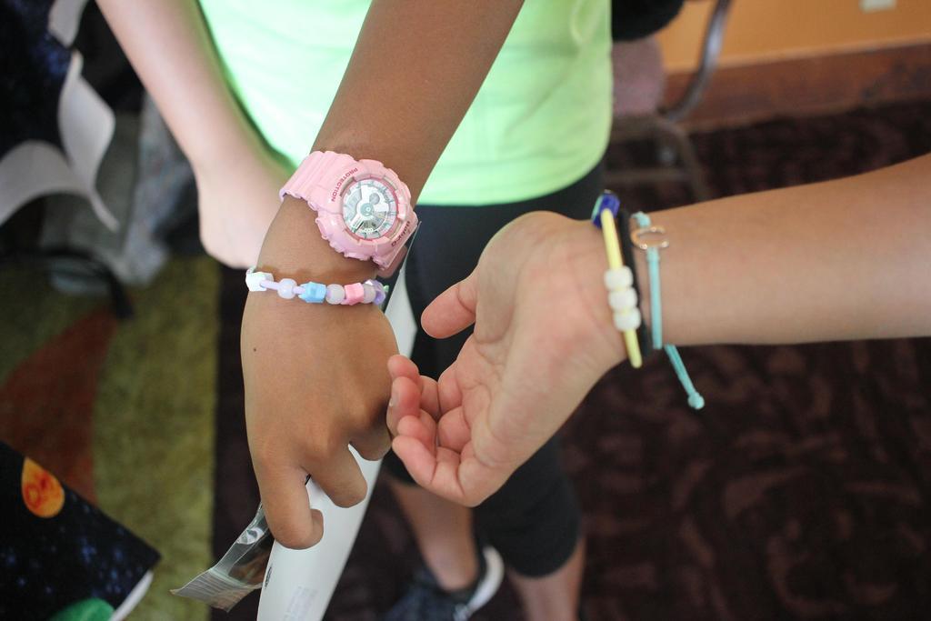 bracelets on wrists
