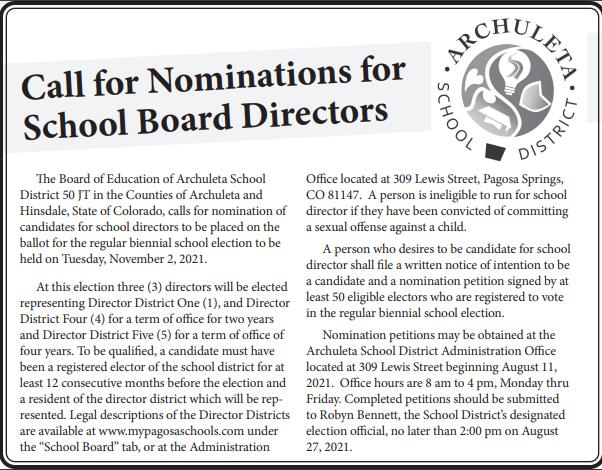 School Board vacancy ad