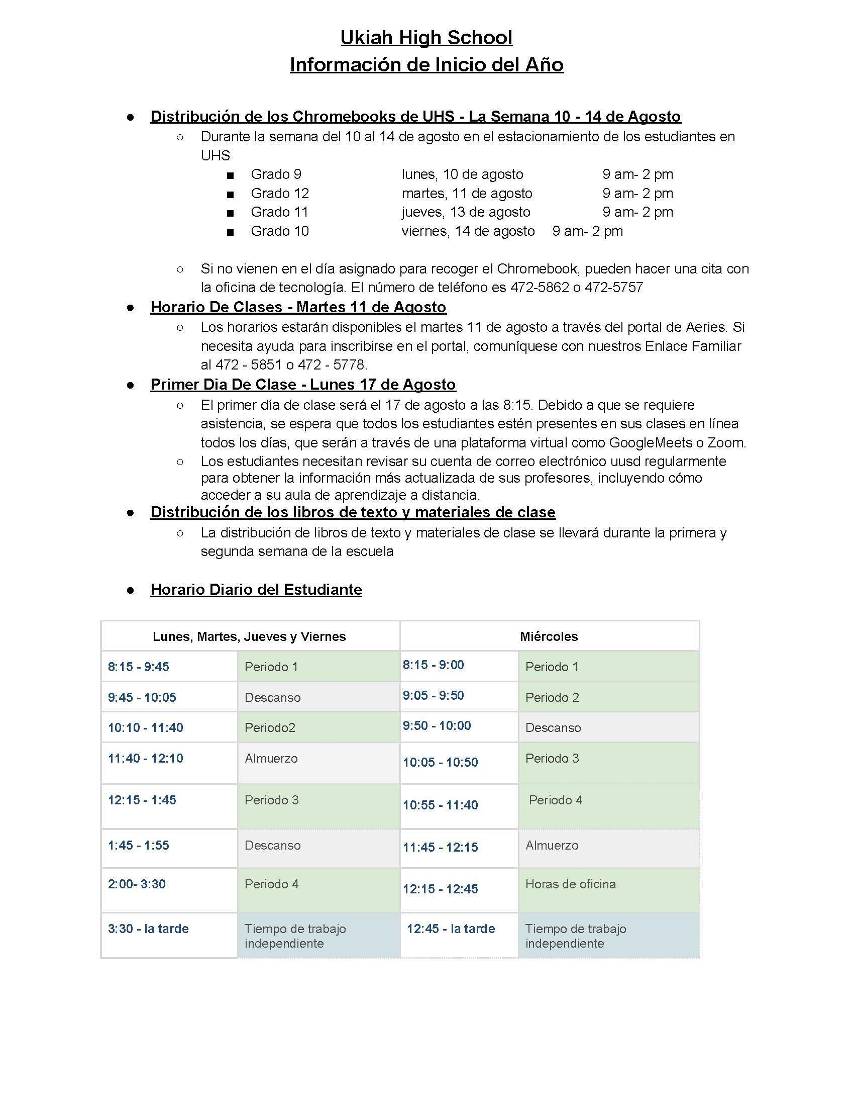 Beginning of the year Information 20-21 spa