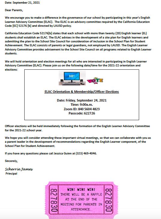 English Learner Advisory Committee (ELAC) Meeting/Junta de Comité Asesor para los Aprendices de Inglés (ELAC) Featured Photo