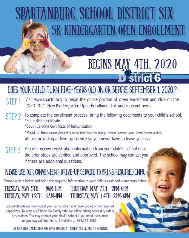On May 4th, District Six will begin open enrollment for our incoming 5K students. Parents may access the online portal on our district website starting Monday.