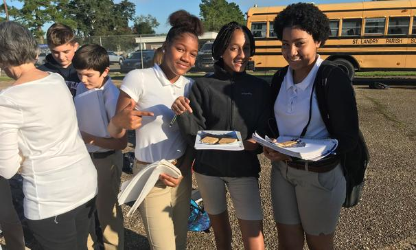 Preparing s'mores for their solar oven experiment