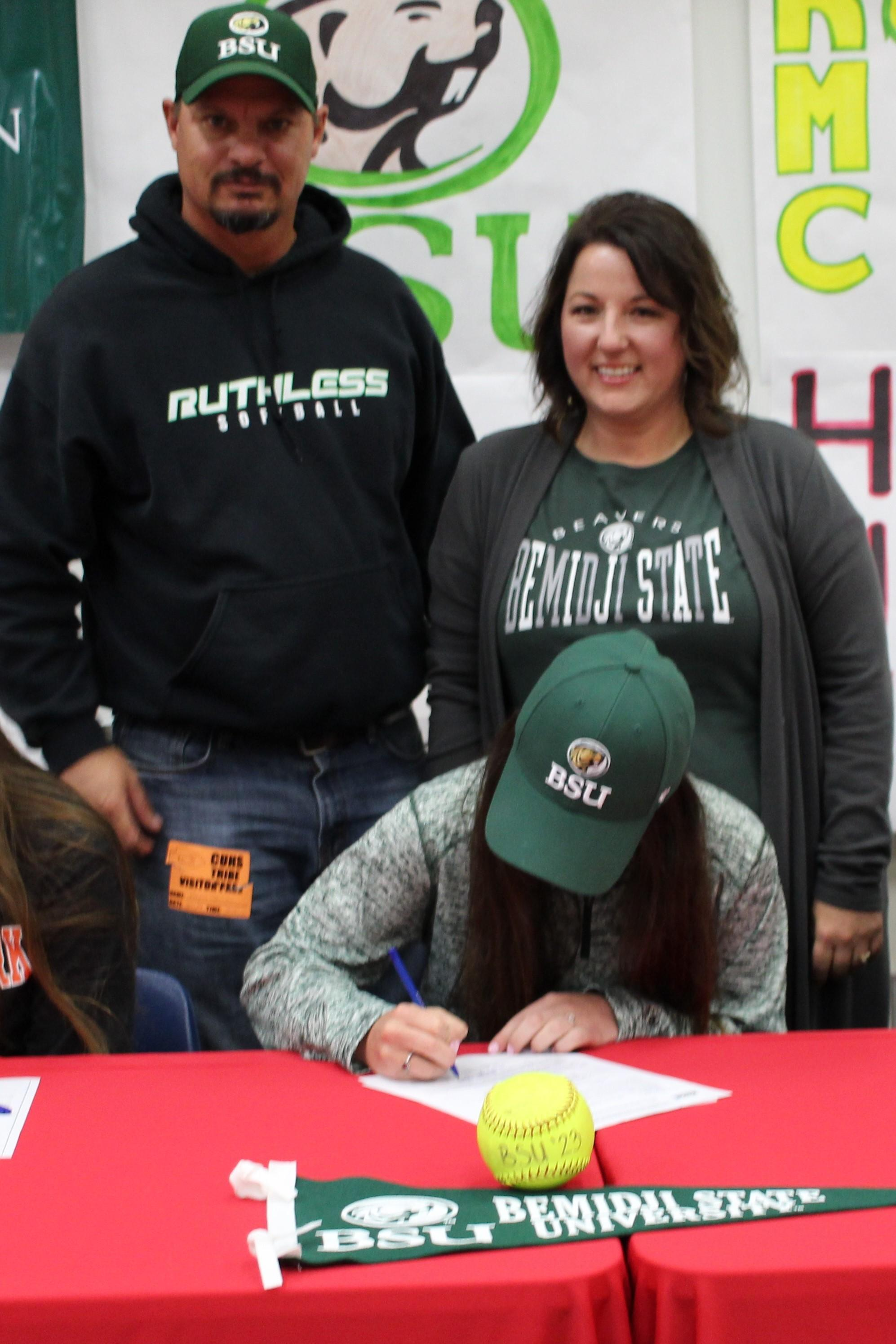 Morgan Sewell signs her National Letter of Intent to Attend Bemidji State University in Bemidji, Minnesota to play softball.
