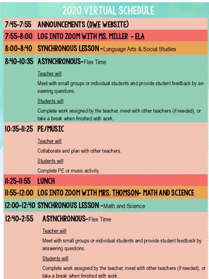 Virtual Class Schedule 2020-2021