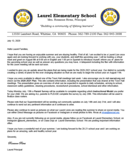 Screenshot of the July 2020 letter from the Principal in English