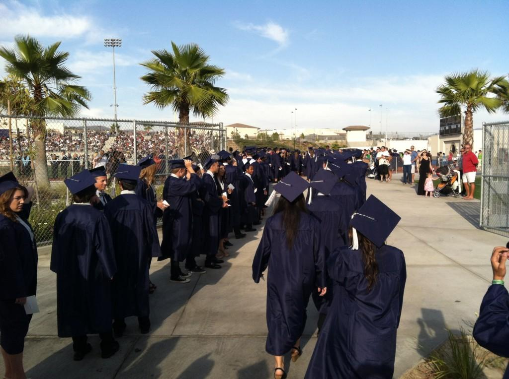 Students entered the stadium for graduation
