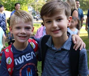 Two Washington School 1st graders pose for a picture on the first day of school.