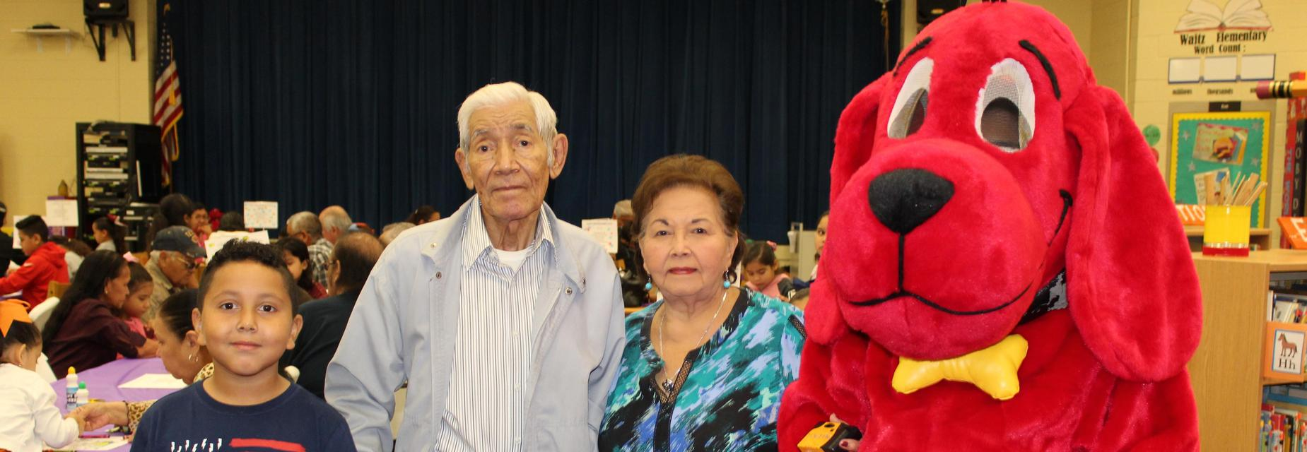 Grandparents day picture including Clifford