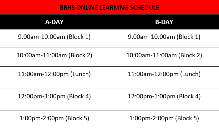 BBHS Online Learning Bell Schedule Featured Photo
