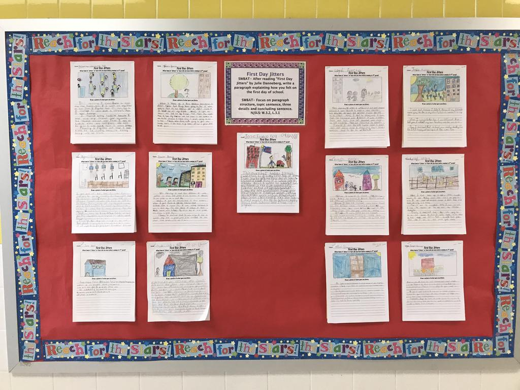 bulletin board display: First Day Jitters where children draw and describe their first day jitters (writing assignment)