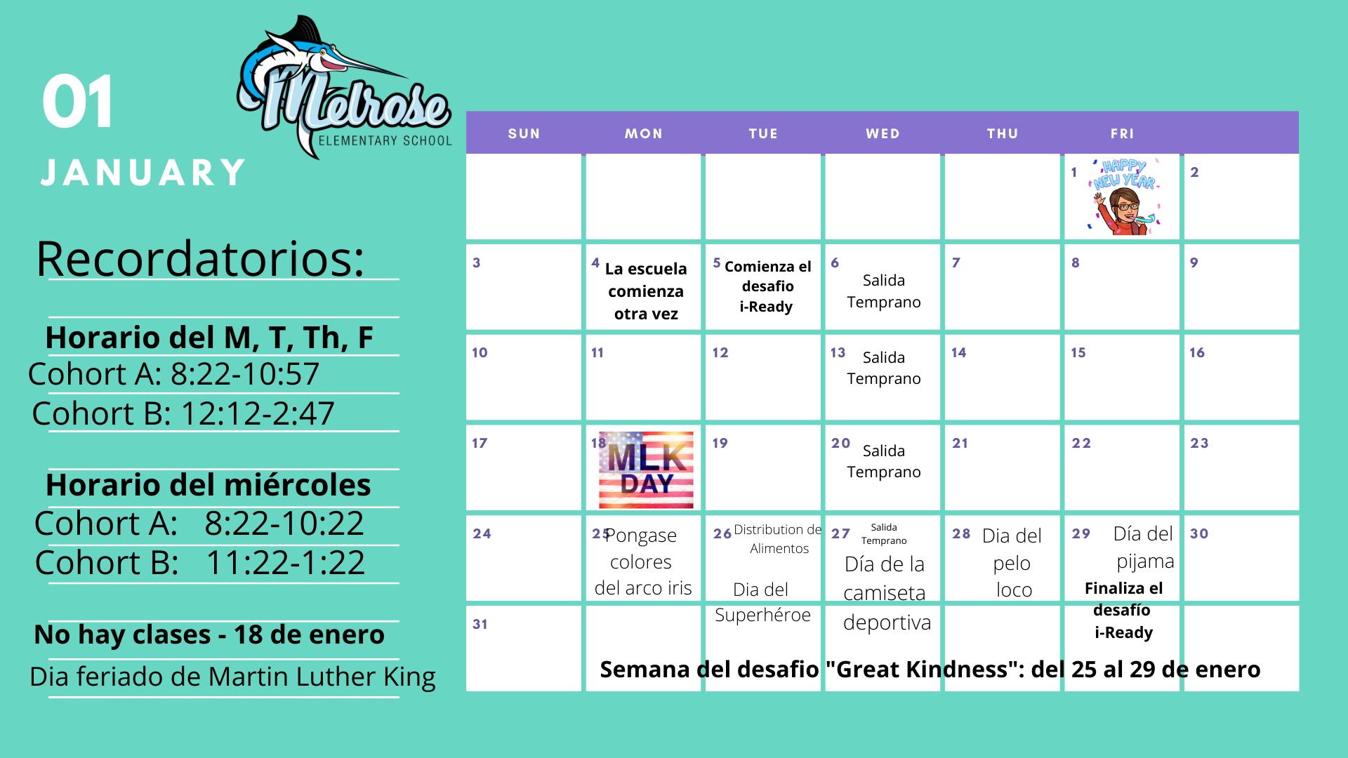 Jan. Spanish Calendar