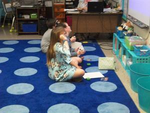 Students prepare for math talks.