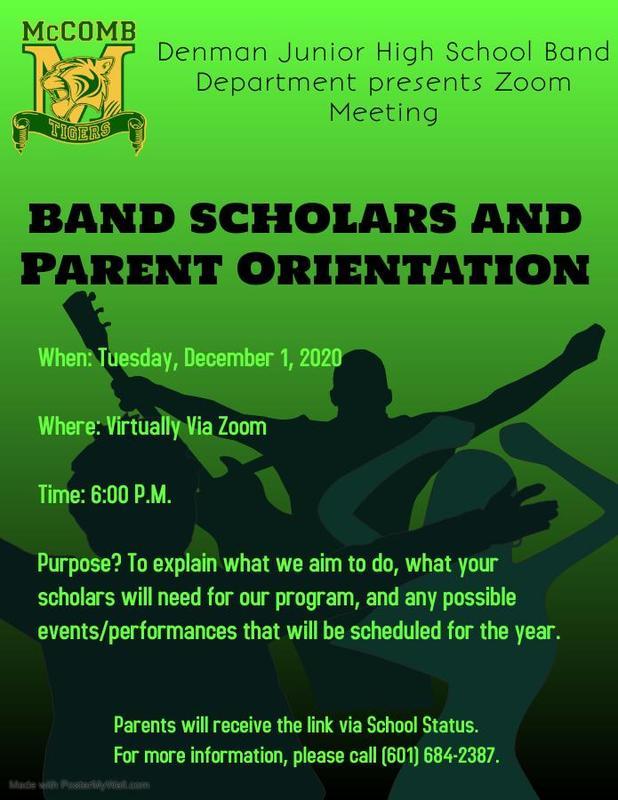 Denman Junior High School Band Department presents Zoom Meeting