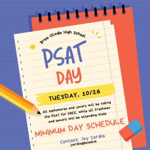 PSAT Day 10/26- MINIMUM DAY SCHEDULE