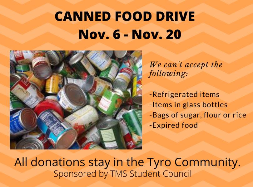 Canned Food Drive Nov. 6-20