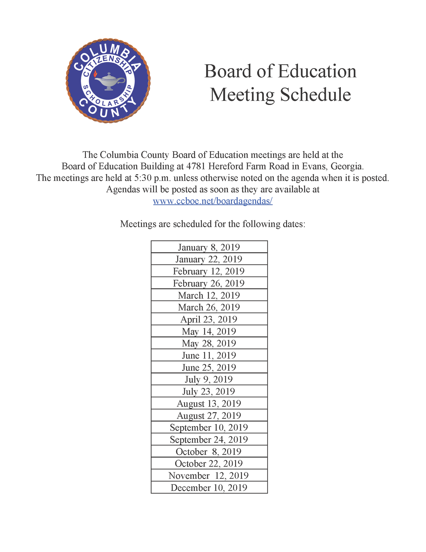 Board of Education Meeting Schedule for 2019