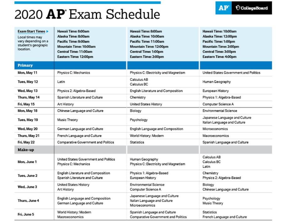 AP Exam Schedule