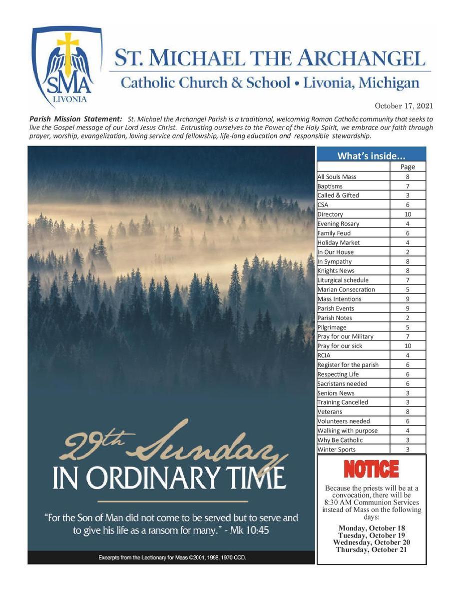 October 17, 2021 Parish Bulletin
