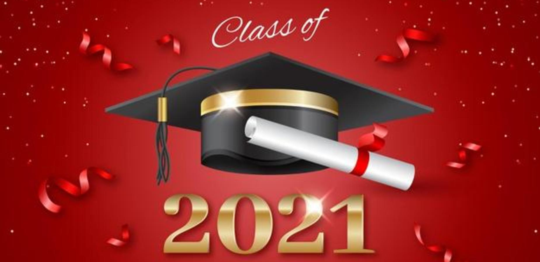 Red background with a graduation hat and red swirls.