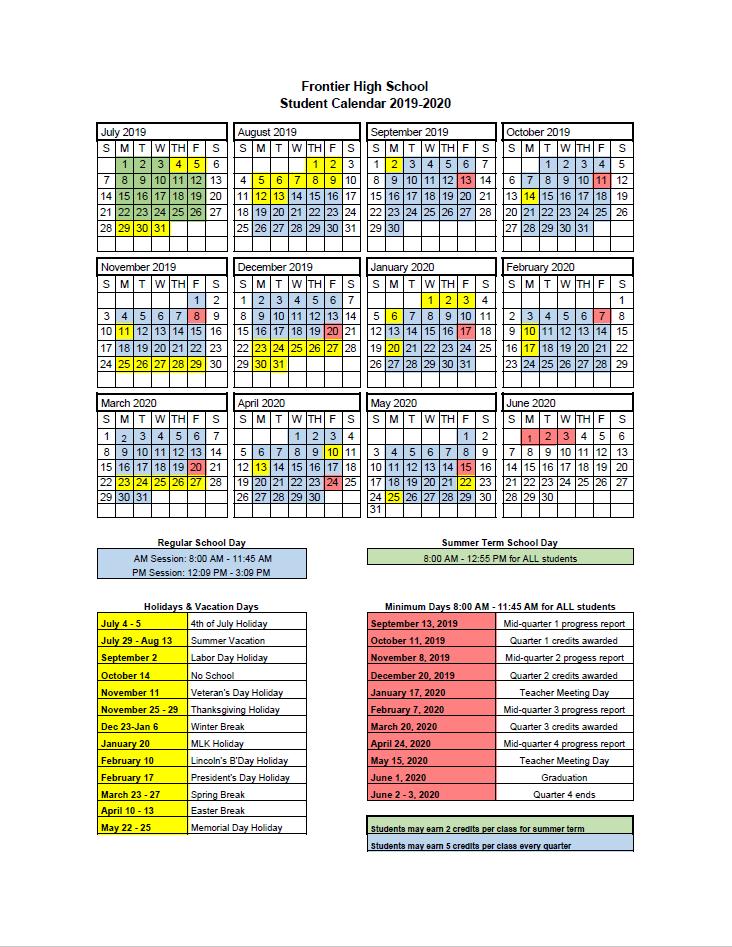 FHS Academic Calendar 2019-2020