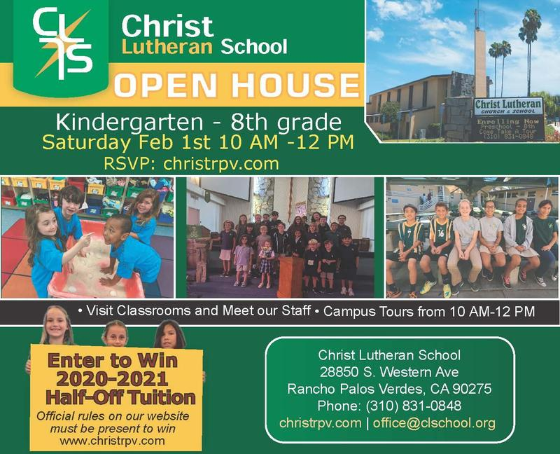 Admissions Open House Sat. Feb 1st 10:00 AM- 12:00 PM Preschool- 8th Grade Featured Photo